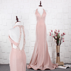 Dusty Pink Color Halter Neck Low Back Mermaid Sexy 2019 Long Wholesale Cheap Stock Prom Gowns Designer Women's Evening Dresses