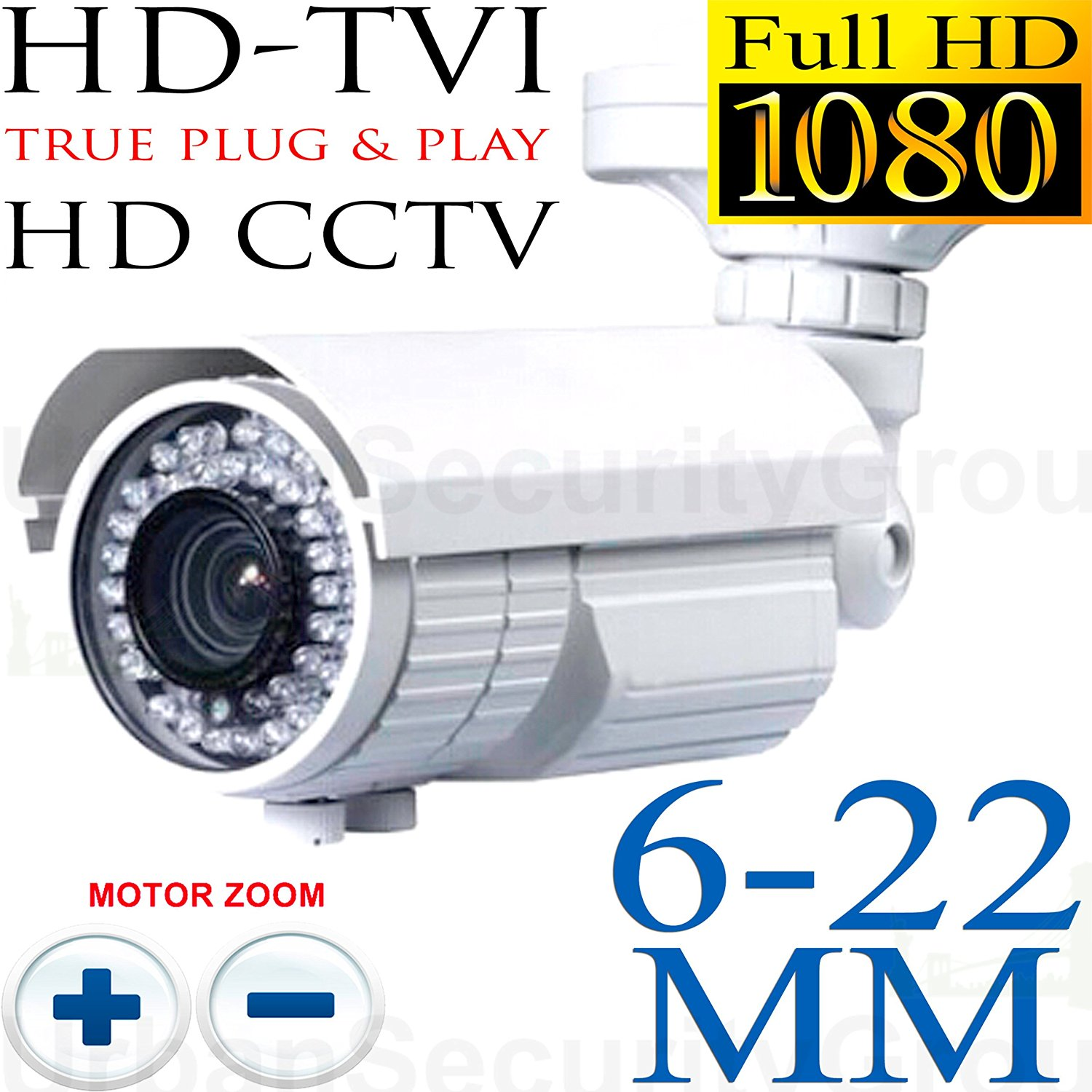 USG Sony DSP HD-TVI CCTV Format 6-22mm Motorized Lens 1080P 2.4MP Bullet Security Camera: 1920*1080 HD, Remote Zoom & Auto-Focus, 72x IR LEDs, IR-Cut, WDR, Motion Detection, DNR, OSD, PTZ Zoom