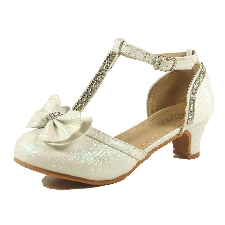 ce86a85c3df6 Get Quotations · Nova Utopia Toddler Little Girls Low Medium Heel Dress  Sandal Flower Girl Shoes (Size 9