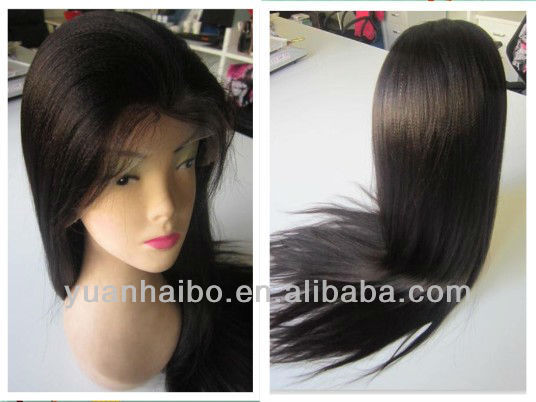 Fashional Style 12-32 inches #1B Yaki Straight, Chinese Virgin Hair, Glueless Front Lace Wig