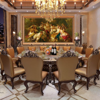 TYX1338-Antique hotel dining room furniture ,marble top luxury dining table set with chair