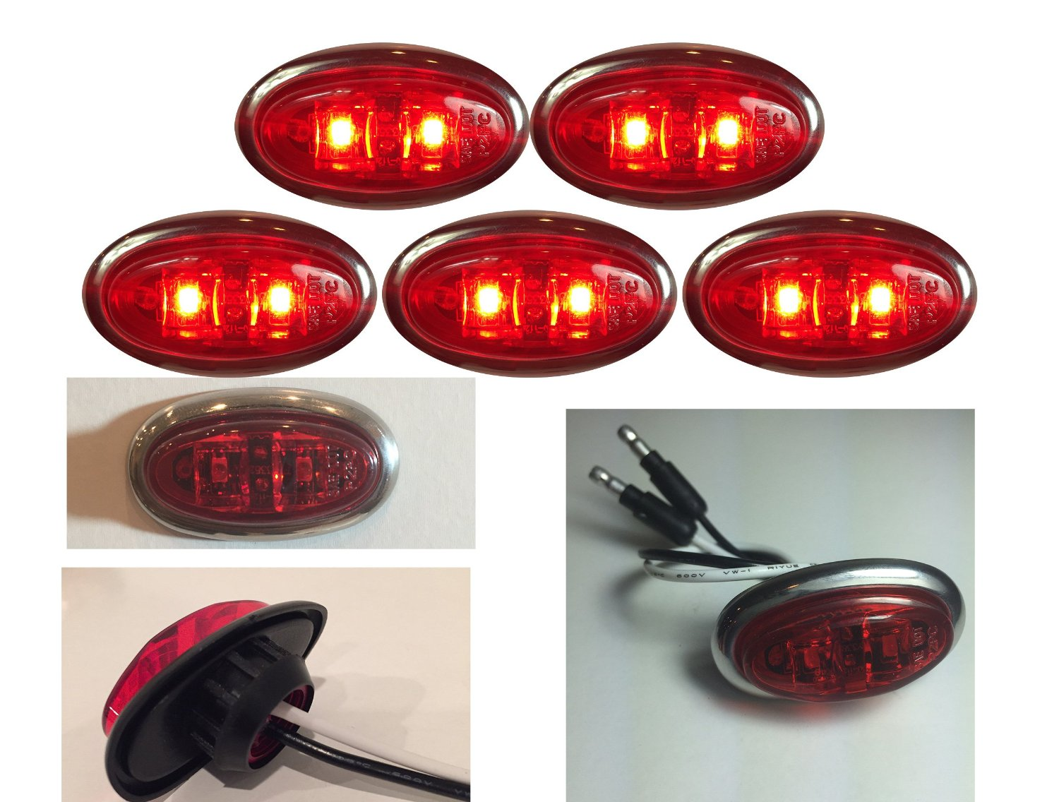 """5 NEW LONG HAUL RED RED MINI W STAINLESS STEEL TRIM OVAL 2 DIODE 2"""" X 3/4"""" .75"""" CLEARANCE MARKER TRAILER TRUCK LIGHTS 12V"""