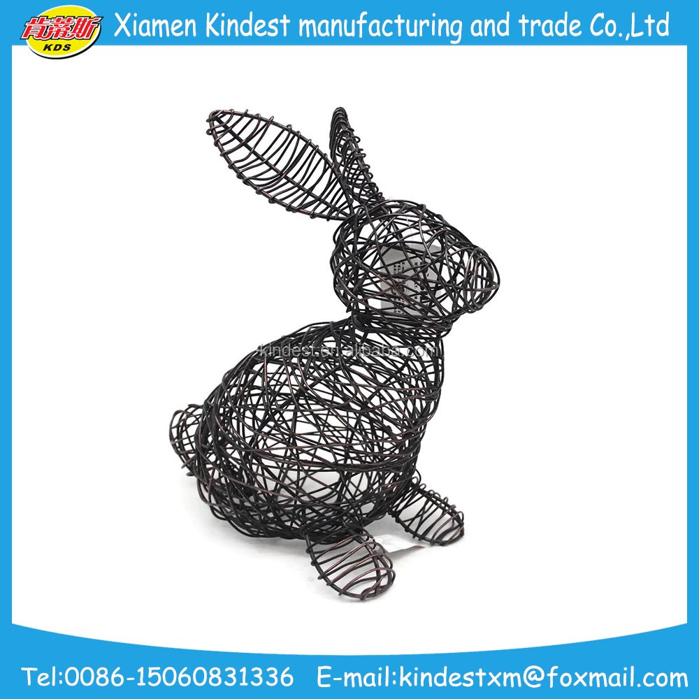 wired creative metal rabbit for gift, home decoration metal item