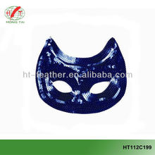 Bright blue glitter partial face mask for masquerade