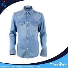 China latest fashion breathable denim designer mens shirts casual