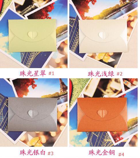 Petit Coeur Perle Couleur Mini Enveloppes En Papier Carte De Visite VIP Enveloppe Cartes Voeux