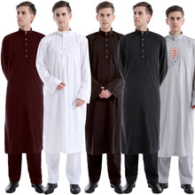 new design muslim dress for men two pieces dubai abaya islamic clothing