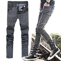2017 wholesale top selling hot sale oem service distressed jeans thin mens fashion brand denim jeans fashion