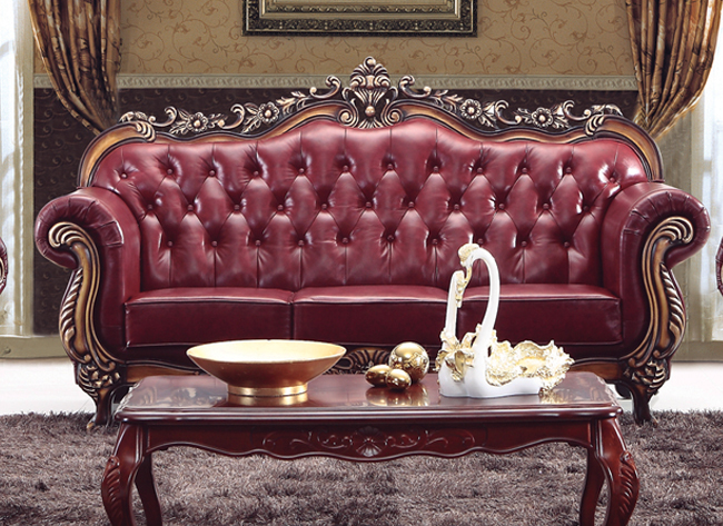 Vintage Chinese Wine Red Wooden Carved Sofa Set Guangzhou Antique
