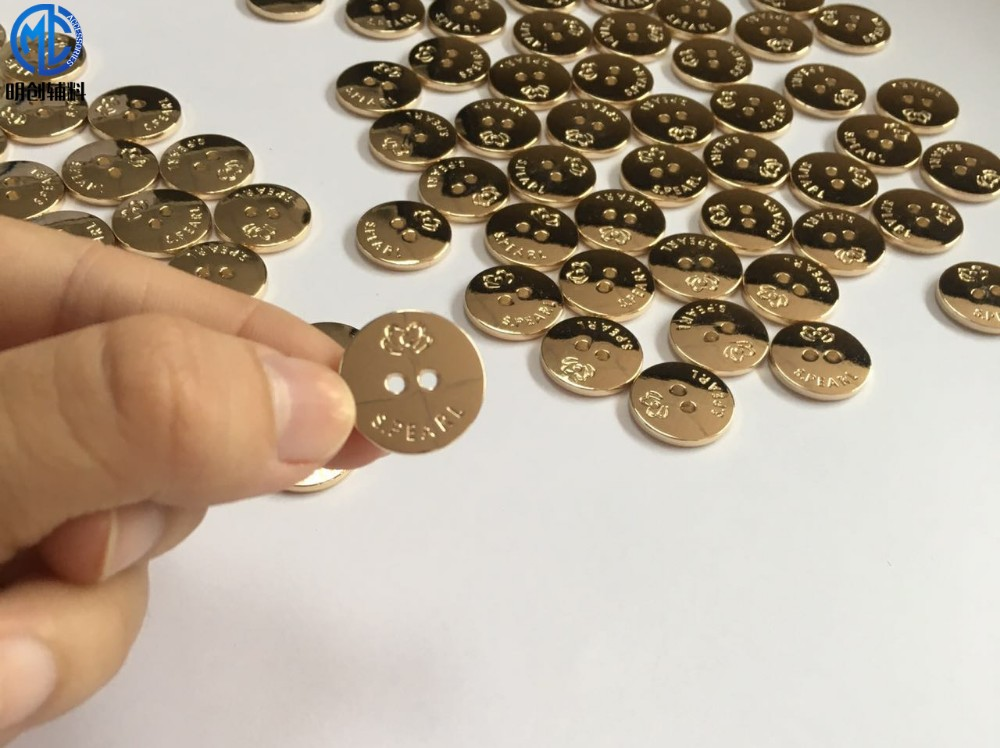 High class custom round engraving metal clothing sewing buttons for shirt