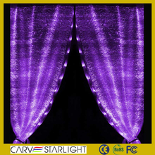 2015 caliente tejido de fibra óptica decoracion wedding waterfal light led cortina