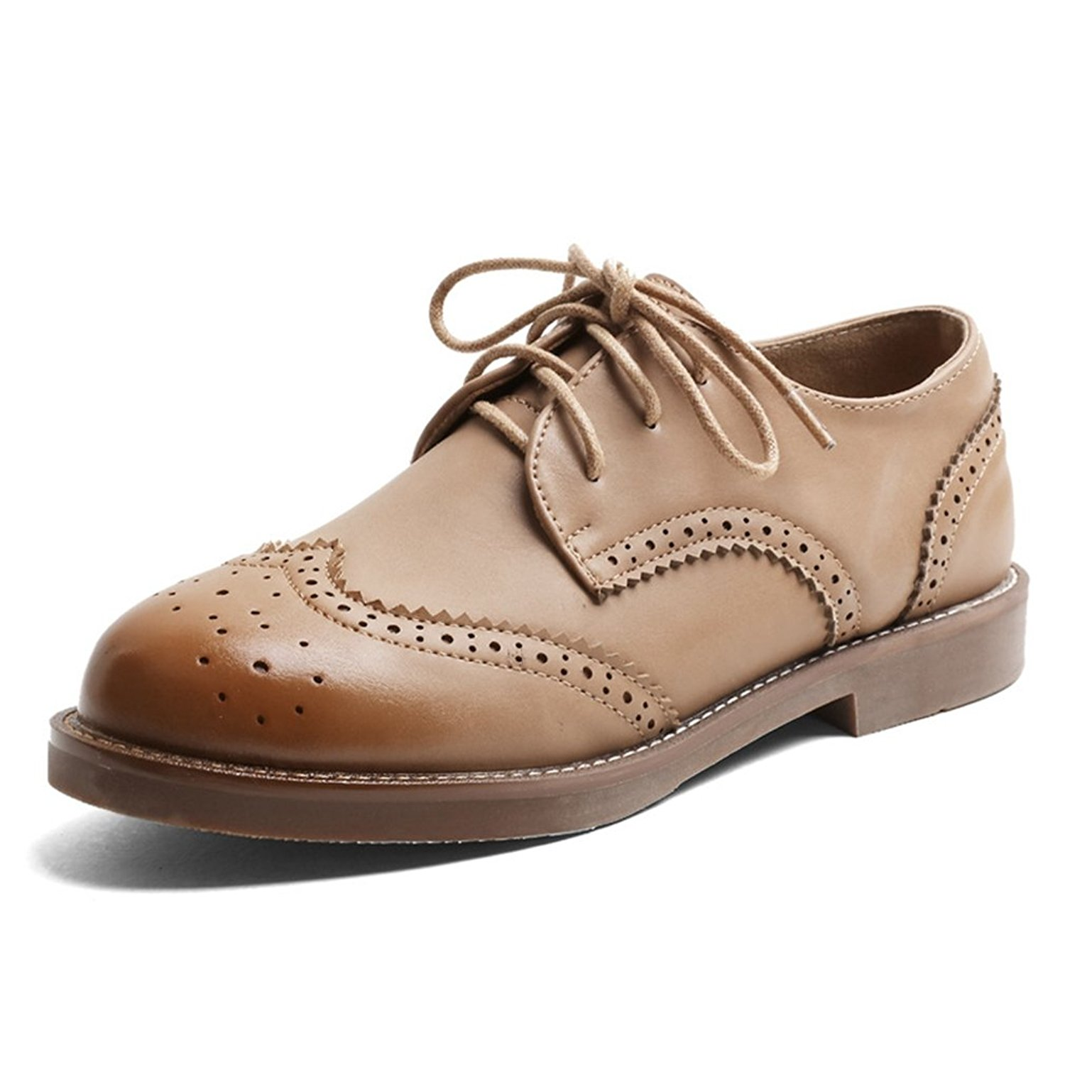 17079e50e1b090 Get Quotations · Hoxekle Fashion Womens Apricot Pure Color Perforated Lace Wingtip  Oxford Shoes Vintage Oxford Shoes