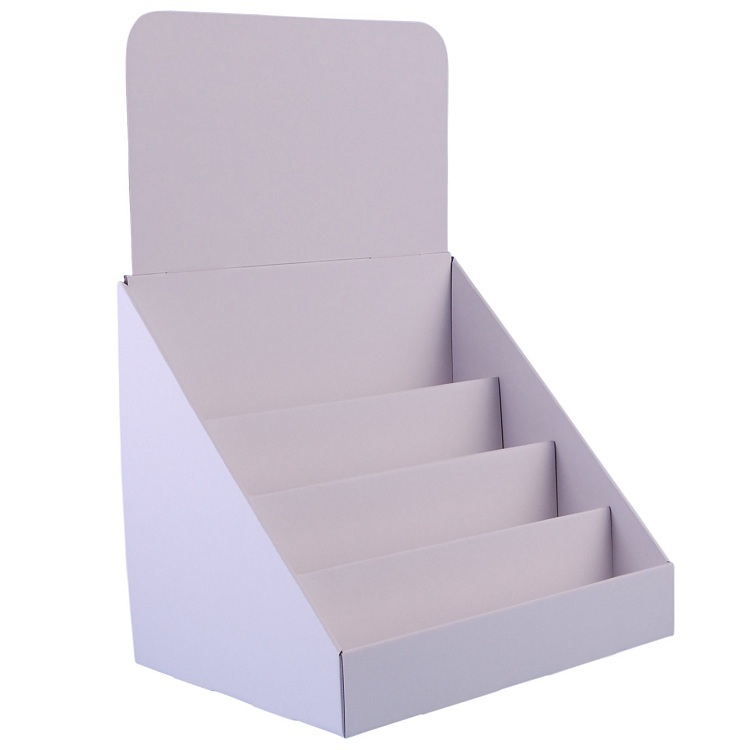 Paper Material Counter Stand Corrugated Countertop 3 Tier Cardboard Display