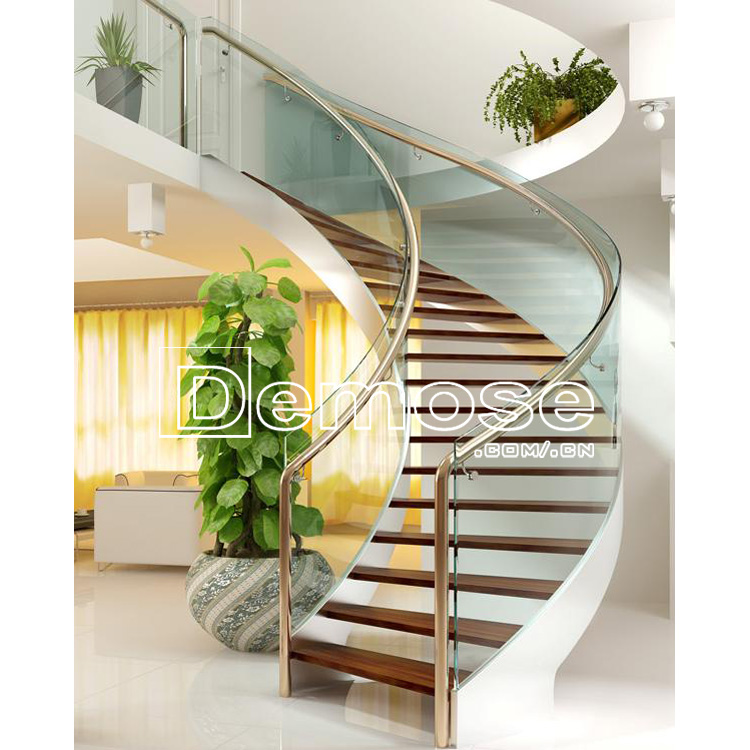 Glass Steel Stair Design / Indoor Wood Staircase Design