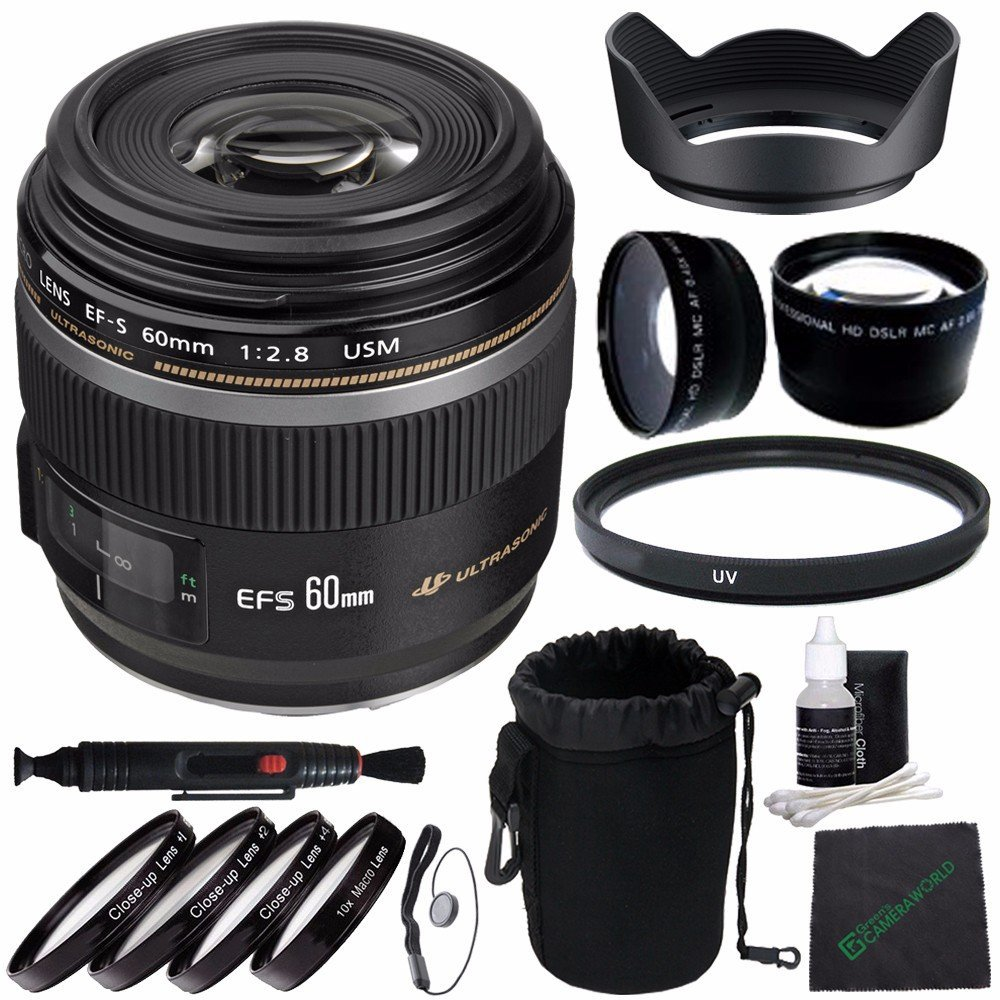 Canon EF-S 60mm f/2.8 Macro USM Lens + 52mm +1 +2 +4 +10 Close-Up Macro Filter Set with Pouch + 52mm Multicoated UV Filter + SLR Lens Pouch + Lens Cleaning Pen + Lens Hood + Cleaning Cloth Bundle 6