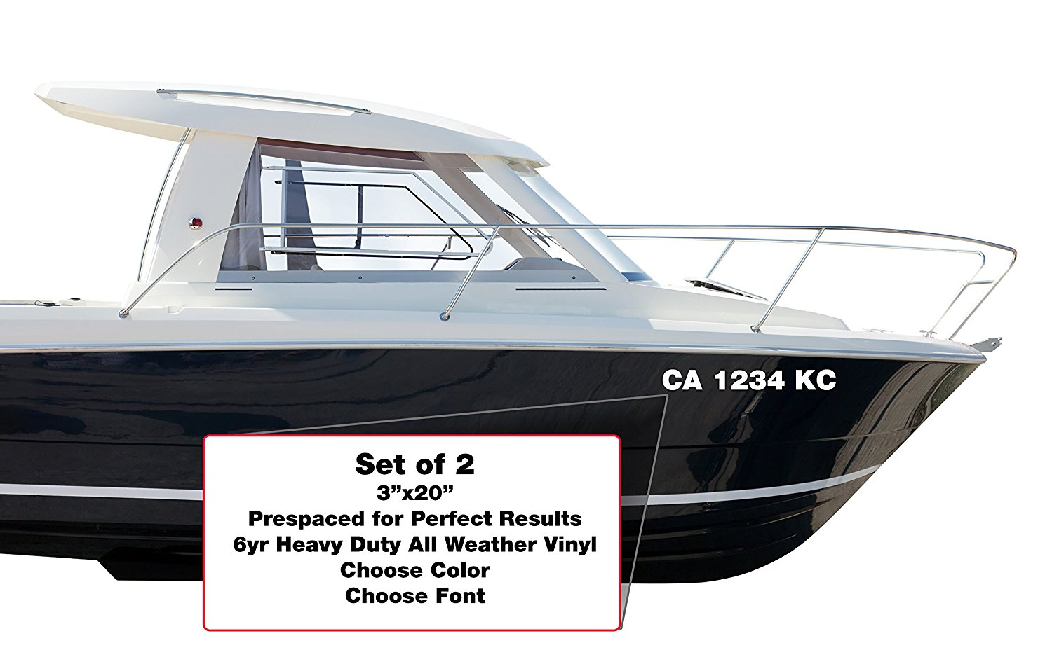 Custom boat or pwc license registration numbers lettering decals
