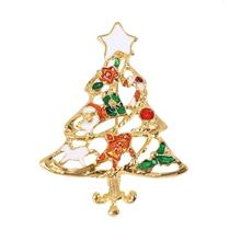 Pin Brooches Christmas Tree Gold Plated Red & Green Enamel Christmas Brooch