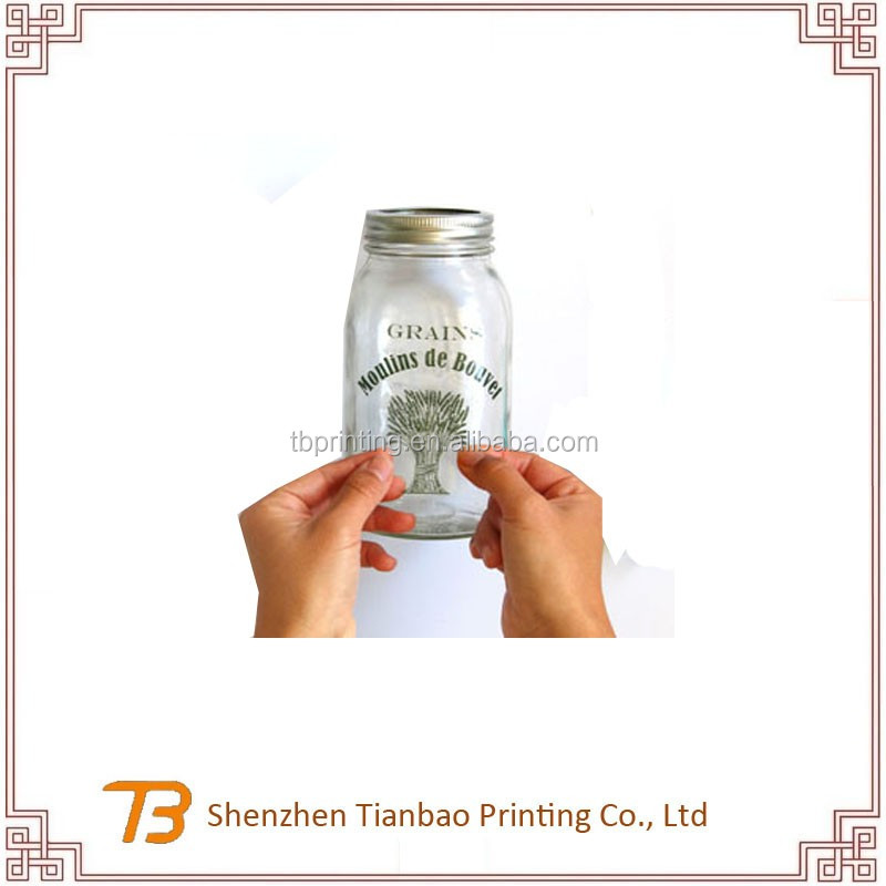 Clear pvc plastic vinyl label stickers drink glass bottle sticker printing