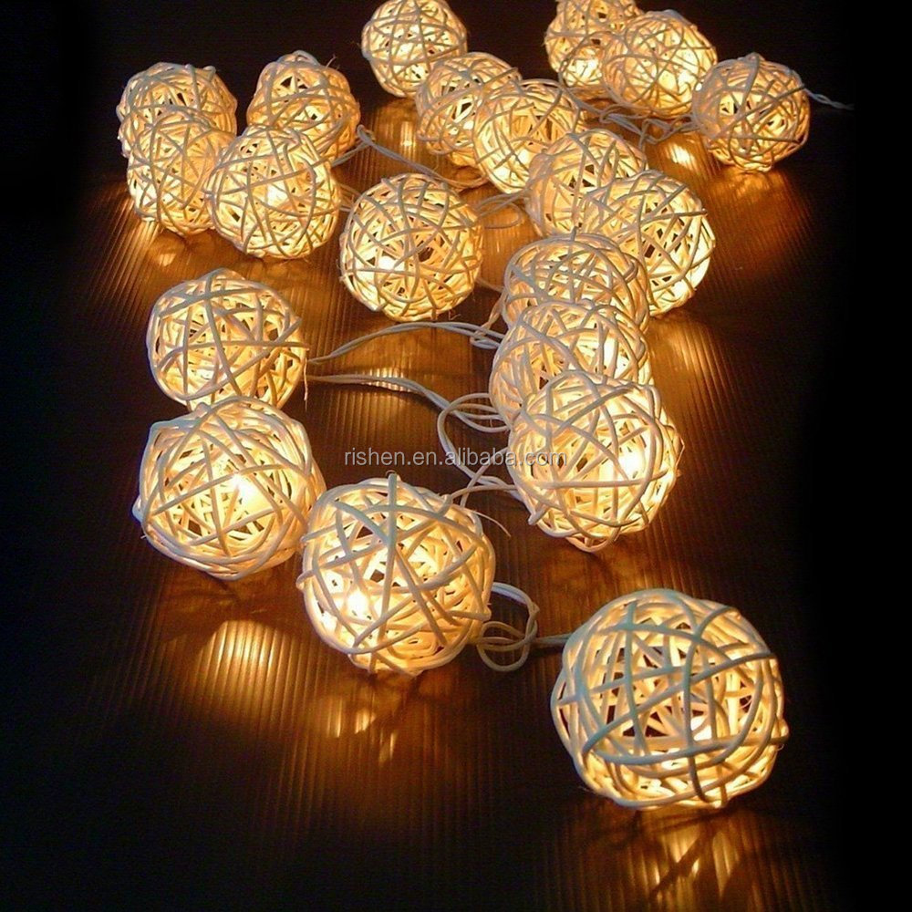 16.4ft/5m LED String Lights with 20 Wooden White LED Rattan Balls, Perfect for Wedding, Christmas, Party & Home Decor