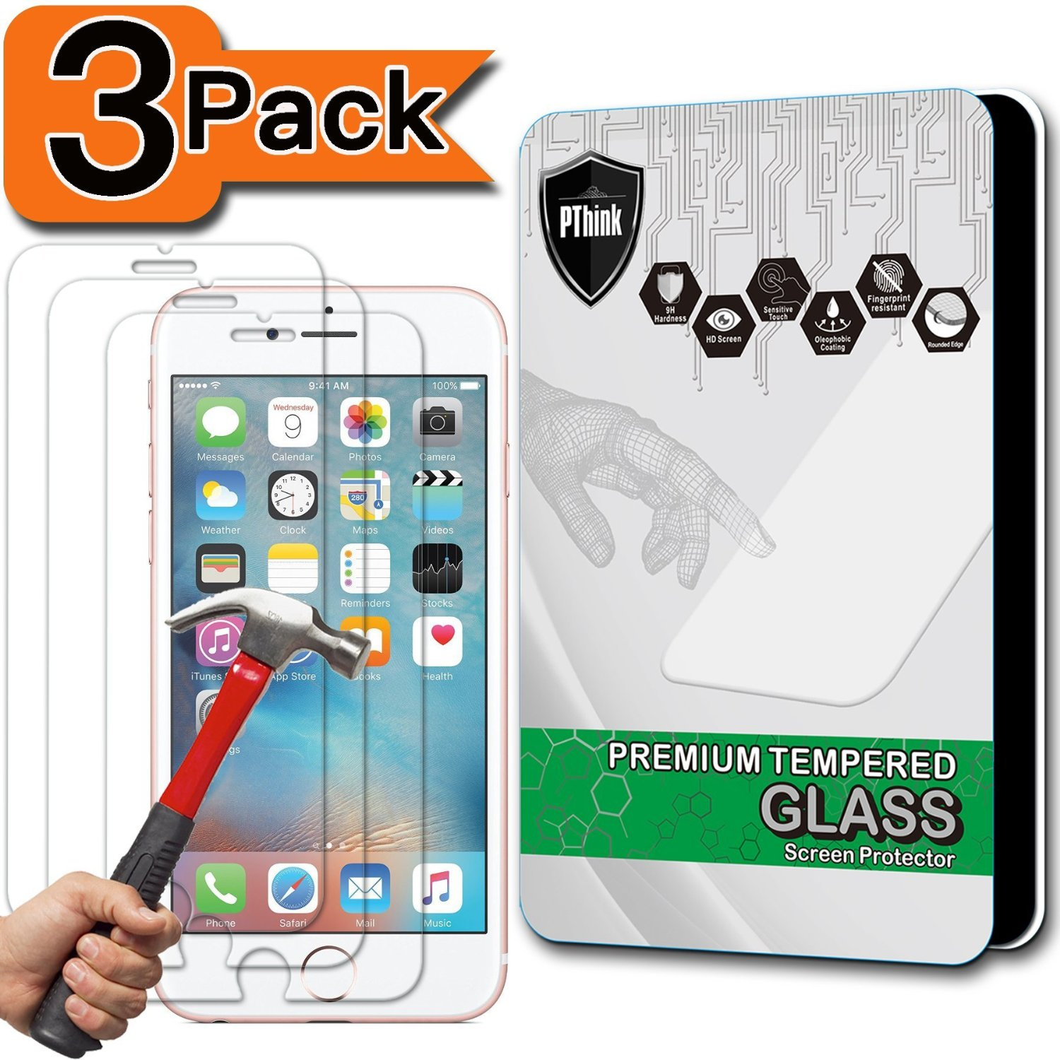 [3-Pack] iPhone 6s Screen Protector, PThink [Tempered Glass] [9H Hardness] [Anti-Scratch] [Fingerprint Resistant] [Easy-Install] Glass Screen Protector for iPhone 6 6s (3-Pack)