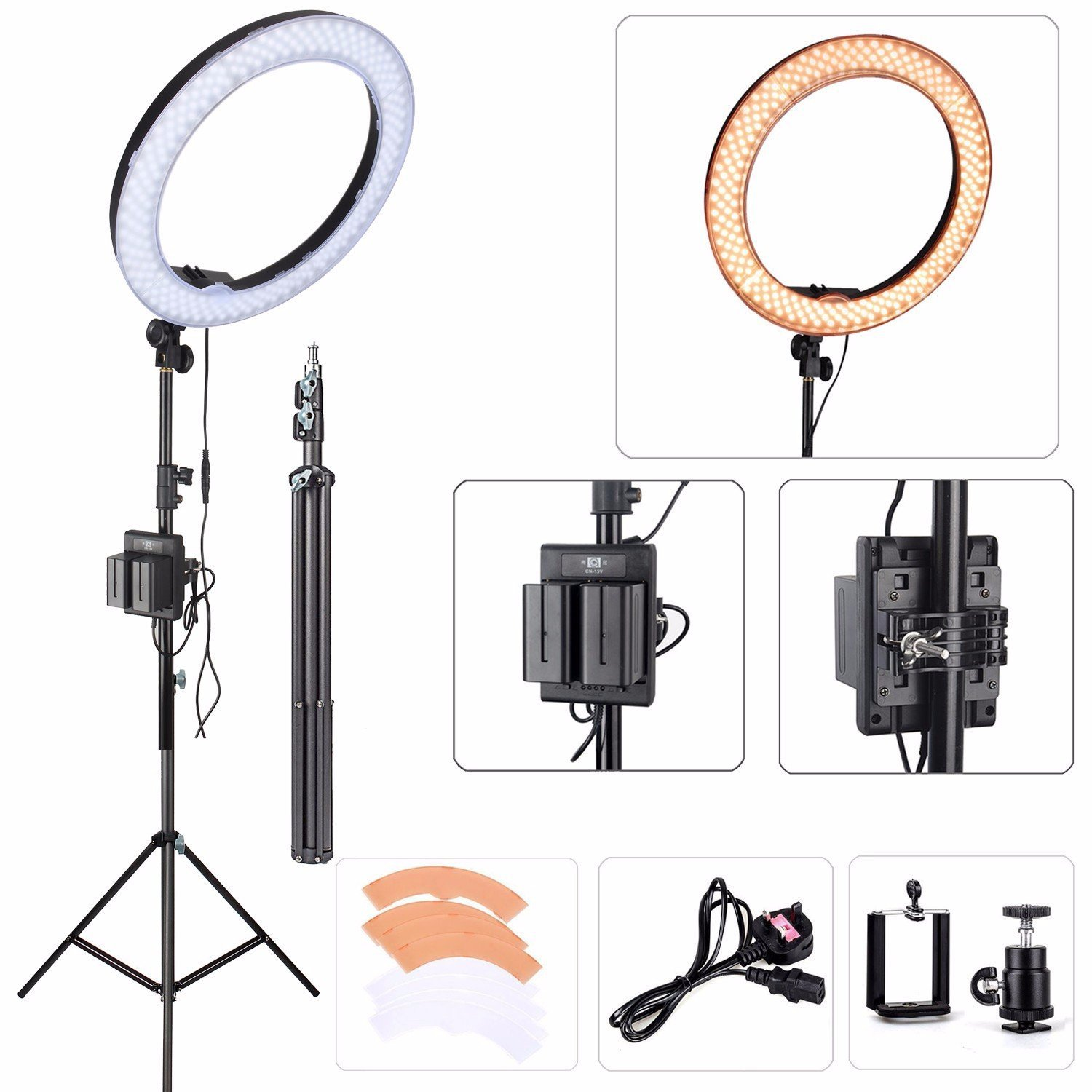 """EACHSHOT ES240 Kit, {Including Light, Stand, Portable Power Supply, Phone Clamp, Tripod Head }240 LED 18"""" Stepless Adjustable Ring Light Camera Photo/Video Portrait photography 180pcs LED 5500K Dimmab"""