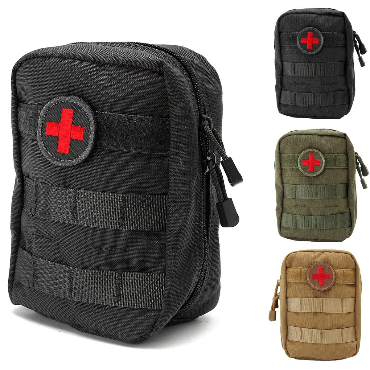 Protective Gear 900D Nylon Tactical Molle Waist Bag Medical First Aid Utility Emergency Pouch - (Color: Brown)