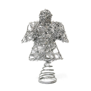Hot selling metal material silver angel figurines christmas tree topper