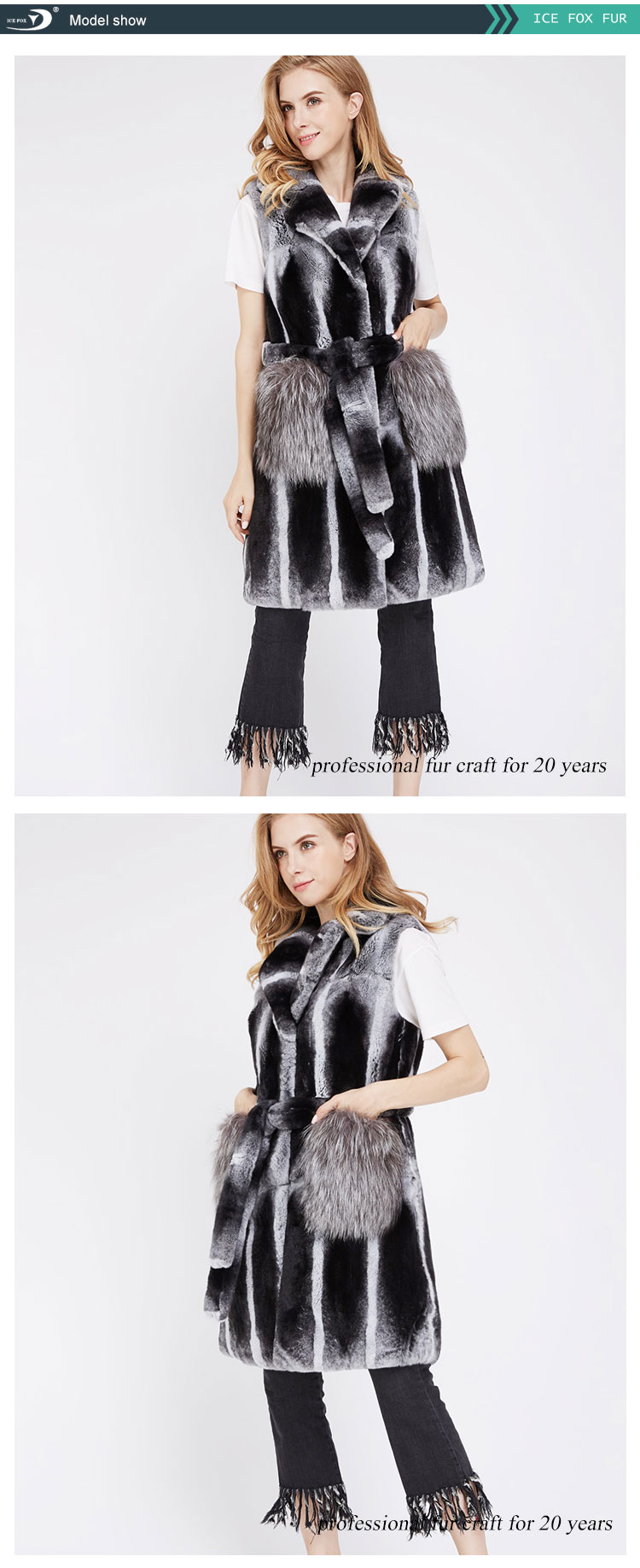 Women 2019 Autumn And Winter Fashion Full Leather Long Section Real Rabbit Fur Vest