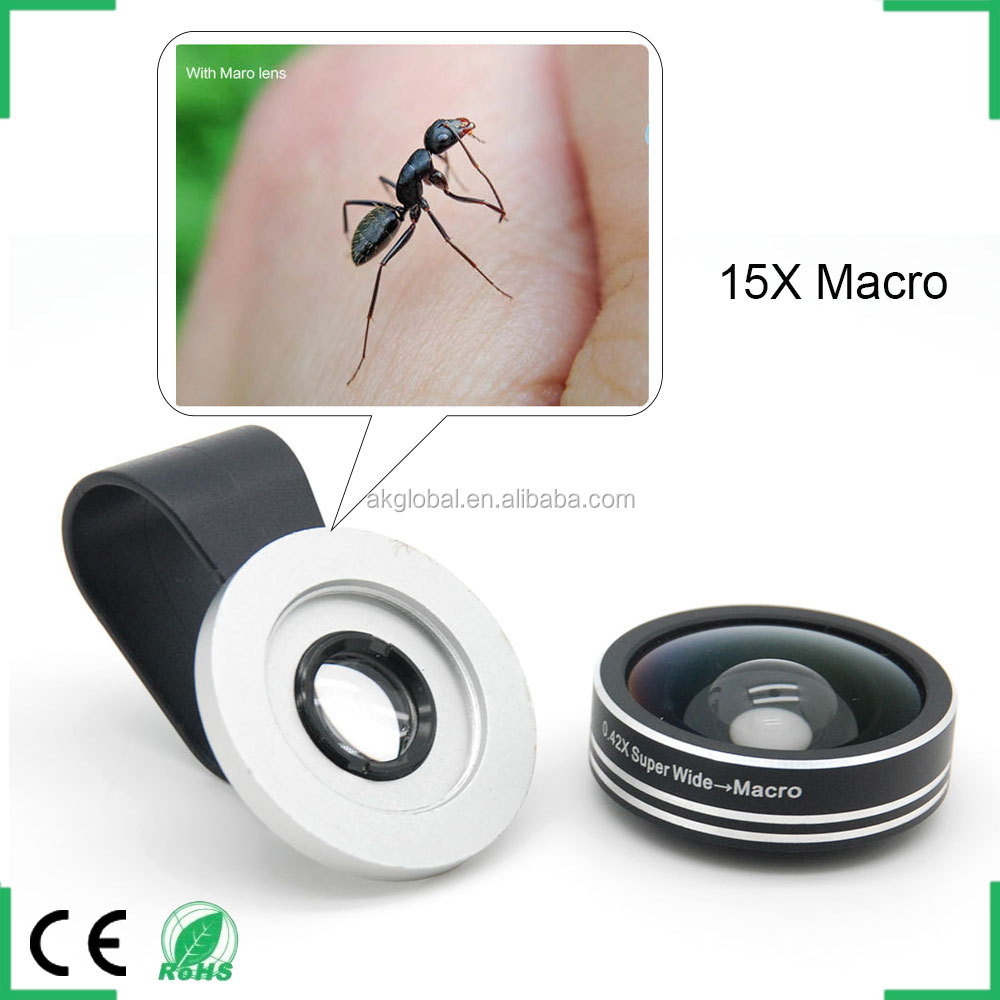 New Products 2016 Innovative Wide Angle Camera Lens 15x Macro 2 In One Kit For Iphone 6s Samsung S6 Huawei P8