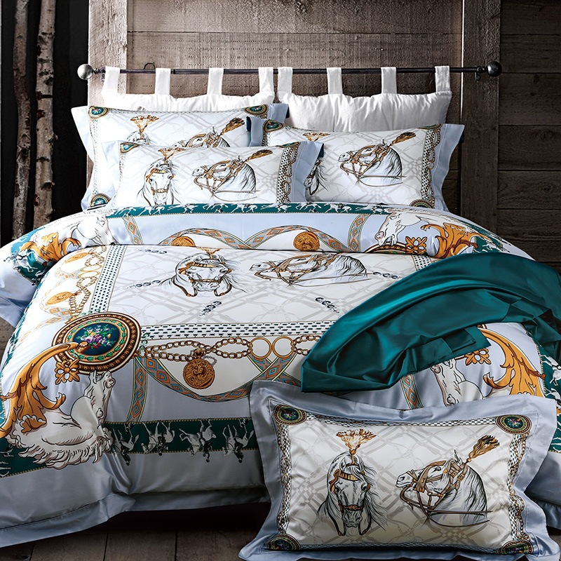 Luxury 100% Tencel Digital Print Used For Bedroom Decorate Duvet Cover Set Silk Bedding Set