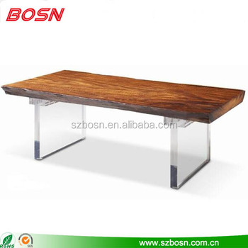 Modern Teak Color Coffee Tea Table Acrylic Legs Utility Furniture