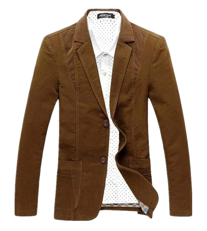 Fensajomon Mens Vintage Corduroy Casual Business 1 Button Dress Blazer Jacket Sport Coat