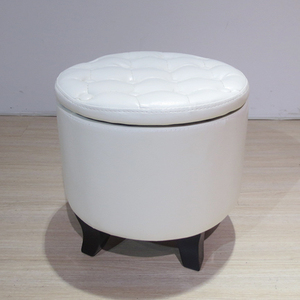 Round Tufted Multi Purpose Storage Leather Glider Ottoman With Wood Legs