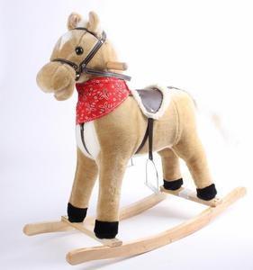 Baby wooden plush rocking horse with sounds and tail moveable(CE/EN71)