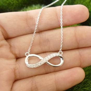 bd7594611e86e Shining 925 sterling silver accent diamond infinity pendant double infinity  symbol pendant necklace