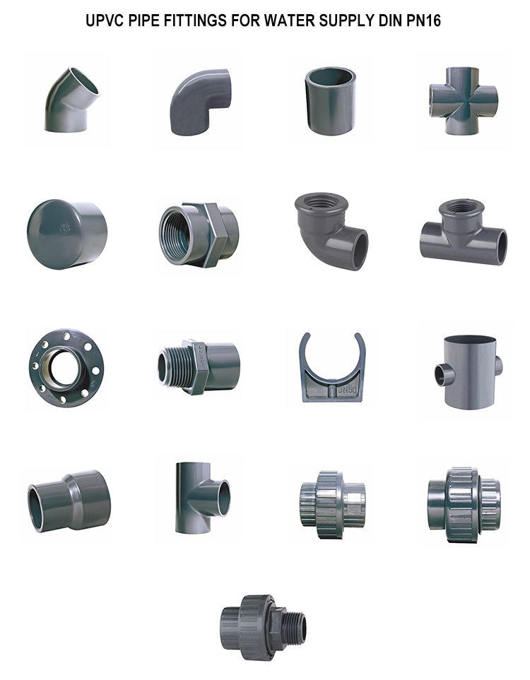 DIN PN16 UPVC PVC Pipe Fitting 90 degree Female Threaded Elbow