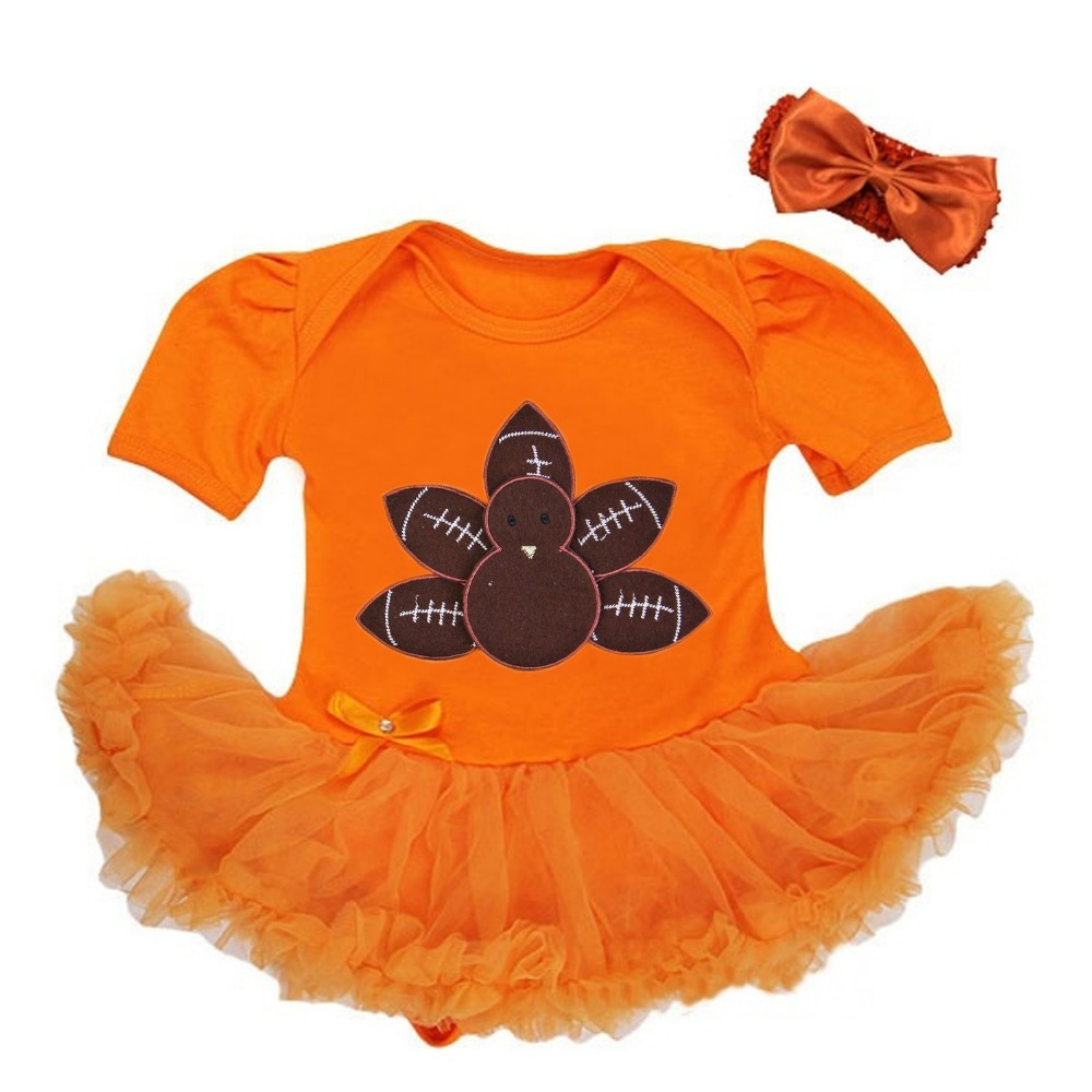 377c19718445 Get Quotations · Baby Girl Thanksgiving Football Turkey Orange Bodysuit  Tutu Party Dress 0-18M