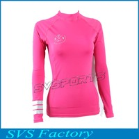 High Quality Long Sleeve womens Swimming Surfing Rash Guard pink Color Wholesales shirt