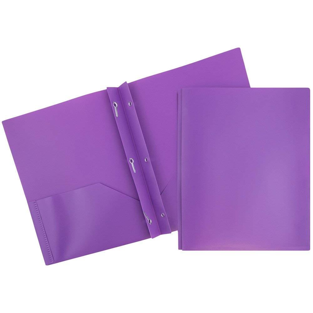 Get Quotations Jam Paper Plastic 2 Pocket School Pop Folders With Metal Gs Fastener Clasps Purple