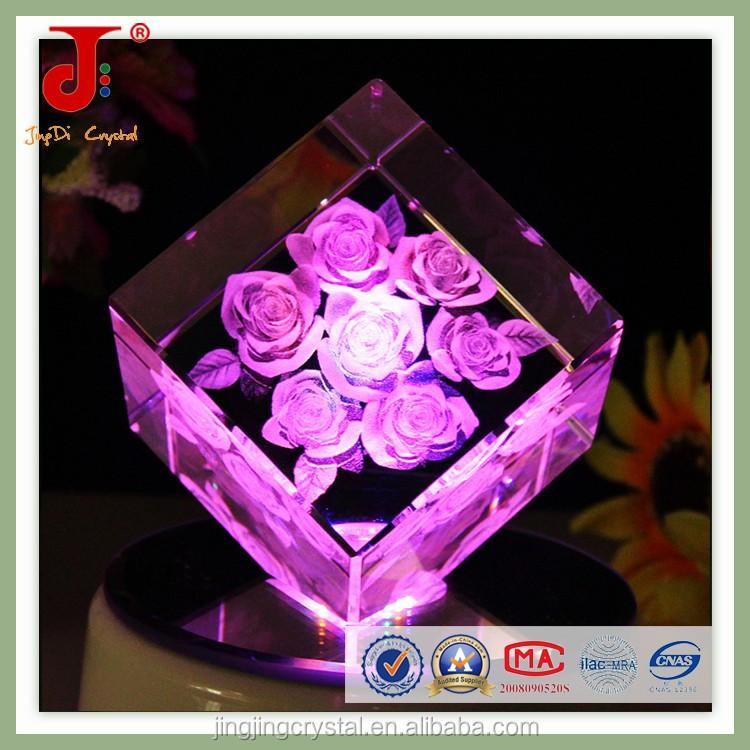 Crystal Wedding Anniversary Gift: Square Crystal Wedding Anniversary Gifts With Rose Shape