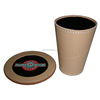 Embossing Logo Handmade Leather Dice Cup with Lid