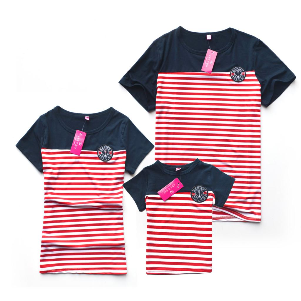 0e2087dd0 Get Quotations · 2015 Summer Family Shirts Casual Striped Mother Father Baby  Family Look Clothes Matching Man Women Kids