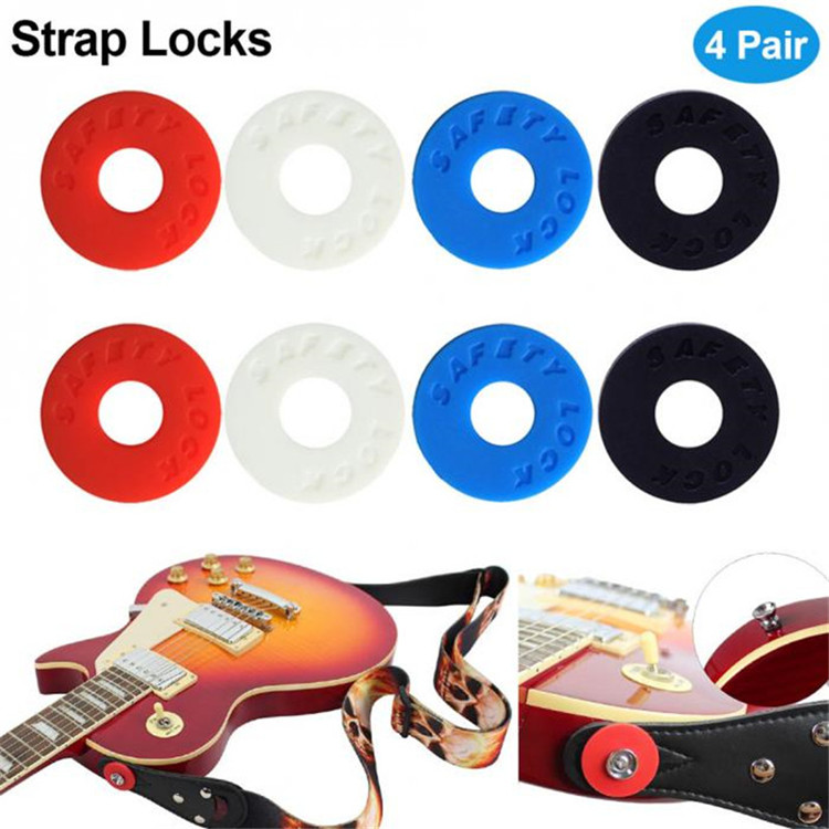 Custom logo silicone rubber button buckle safty guitar strap lock