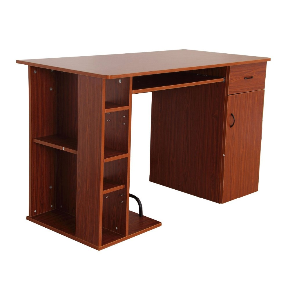 Mobile tall wooden computer desk with keyboard cd rack cherry colorful buy tall computer desks - Tall computer desks for home ...