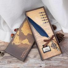 business gift pack old fashion goose feather quill custom logo pen