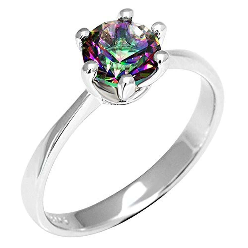 Sugar Memory Natural Mystic Fire Rainbow Topaz Ring Engagement Wedding Ring Solid 925 Sterling Jewelry Fine Jewelry Women Ring Classic