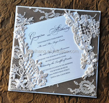 Chic Vintage Flowers Lace Wrapped Wedding Invitations Card With Printing Buy Handmade Lace Wedding Invitation Card Wrapped With Flower Lace