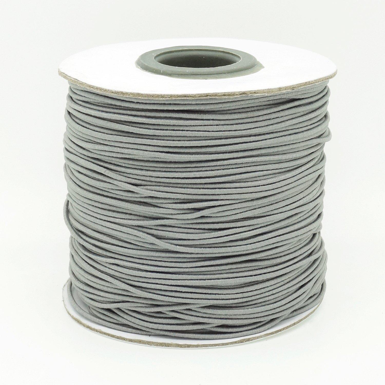 GREY 1mm Nylon Coated Round Elastic Cord Stretch Beading Mala String (100yards Spool)