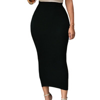 2018 Wholesale Long Skirts Black High-waisted Bodycon Maxi Skirt