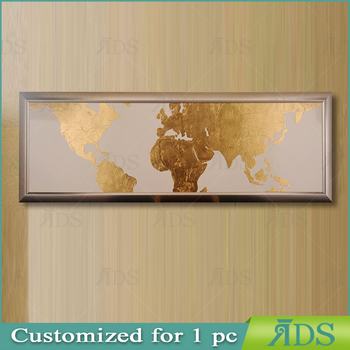 Framed handmade world map with gold leaf painting modern wall art framed handmade world map with gold leaf painting modern wall art gumiabroncs Gallery